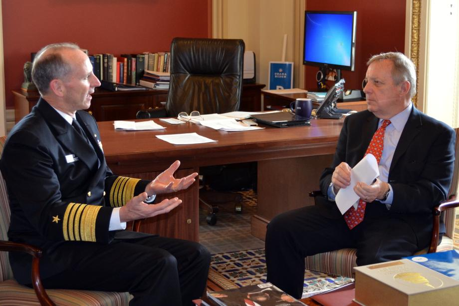 U.S. Senator Dick Durbin (D-IL) met with U.S. Navy Chief of Naval Operations Admiral Jonathan Greenert to discuss defense appropriations.
