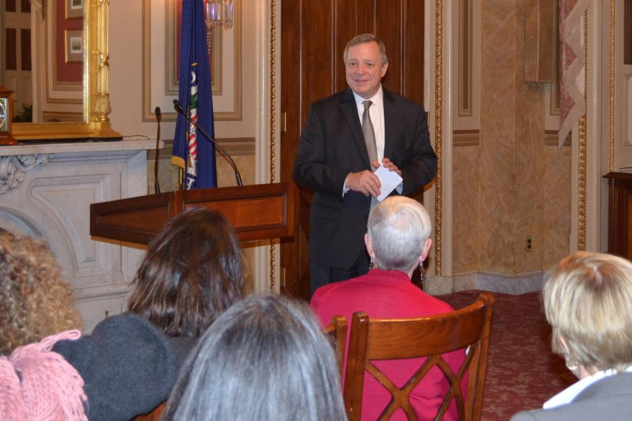 U.S. Senator Dick Durbin (D-IL) met with the Illinois Council of Jewish Women to discuss social justice issues.