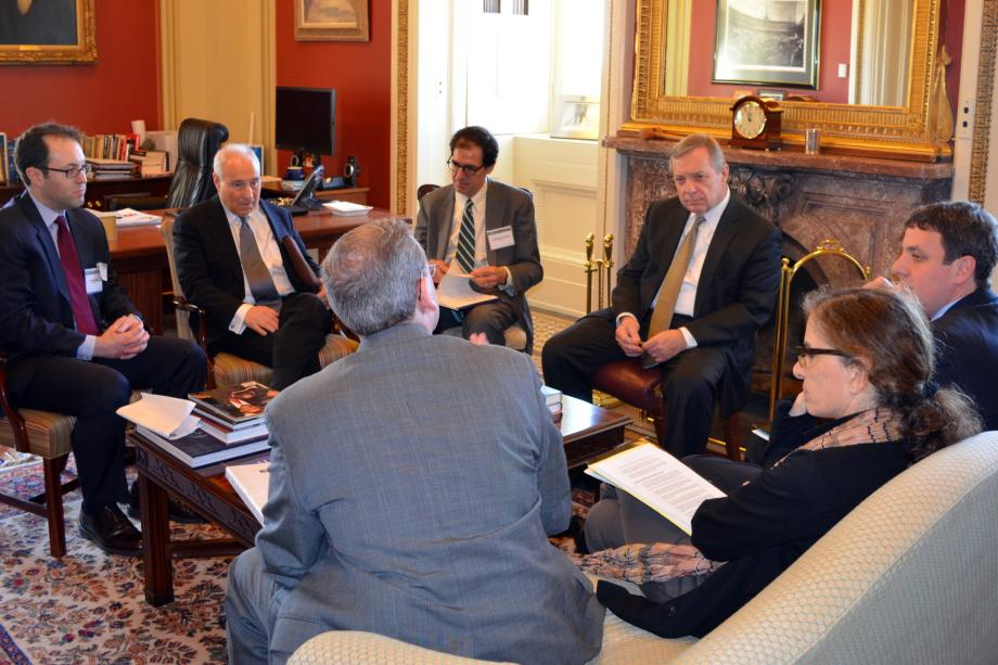 U.S. Senator Dick Durbin (D-IL) met with Executive Director Jeremy Ben-Ami and members of J Street to discuss issues in the Middle East.