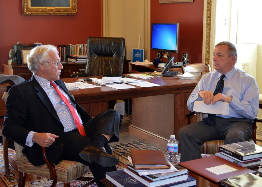 U.S. Senator Dick Durbin (D-IL) met with Biotechnology Industry Organization President James Greenwood to discuss innovation and job creation.