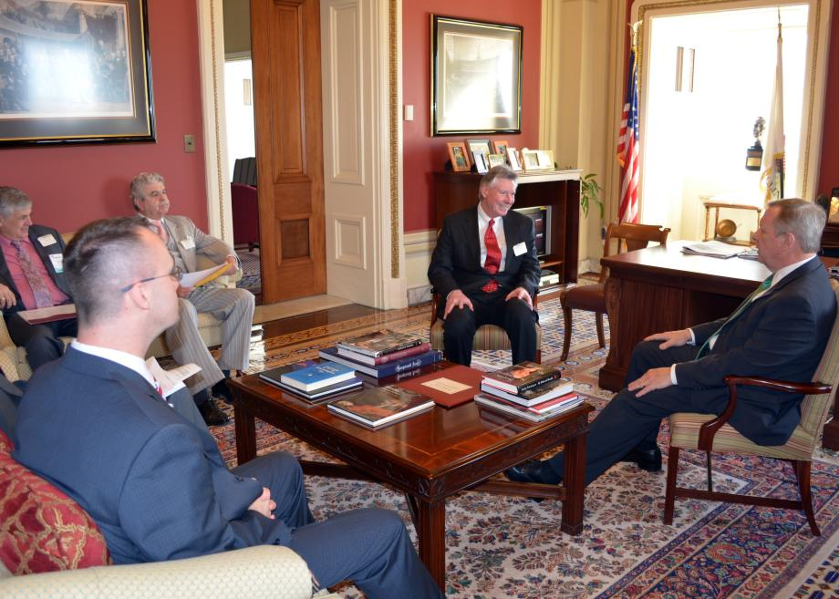 U.S. Senator Dick Durbin (D-IL) met with Chatham Mayor Tom Gray and City Manager Del McCord to discuss transportation priorities.