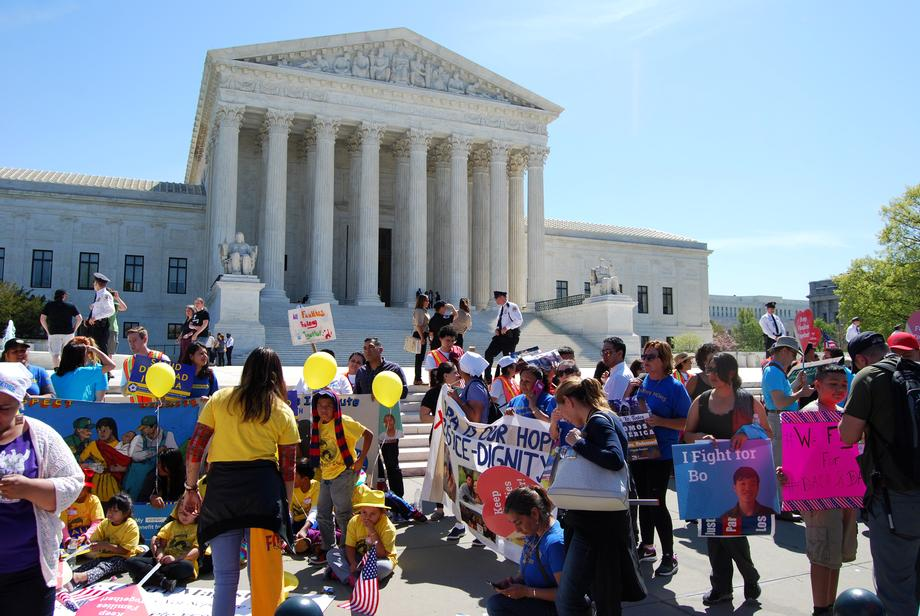 April 18, 2016 - After hearing the oral arguments at the Supreme Court in the case of Texas v. United States, I met with supporters of DACA and DAPA on the Supreme Court steps.