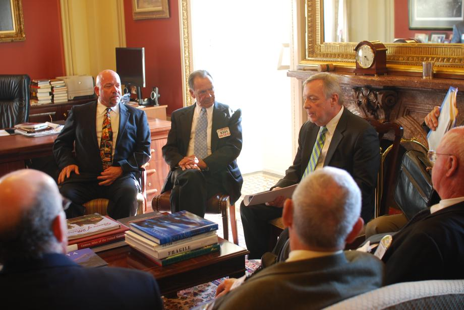 Durbin met with representatives from the Illinois Farm Bureau to discuss the need for the House of Representatives to pass a full five-year Farm Bill.