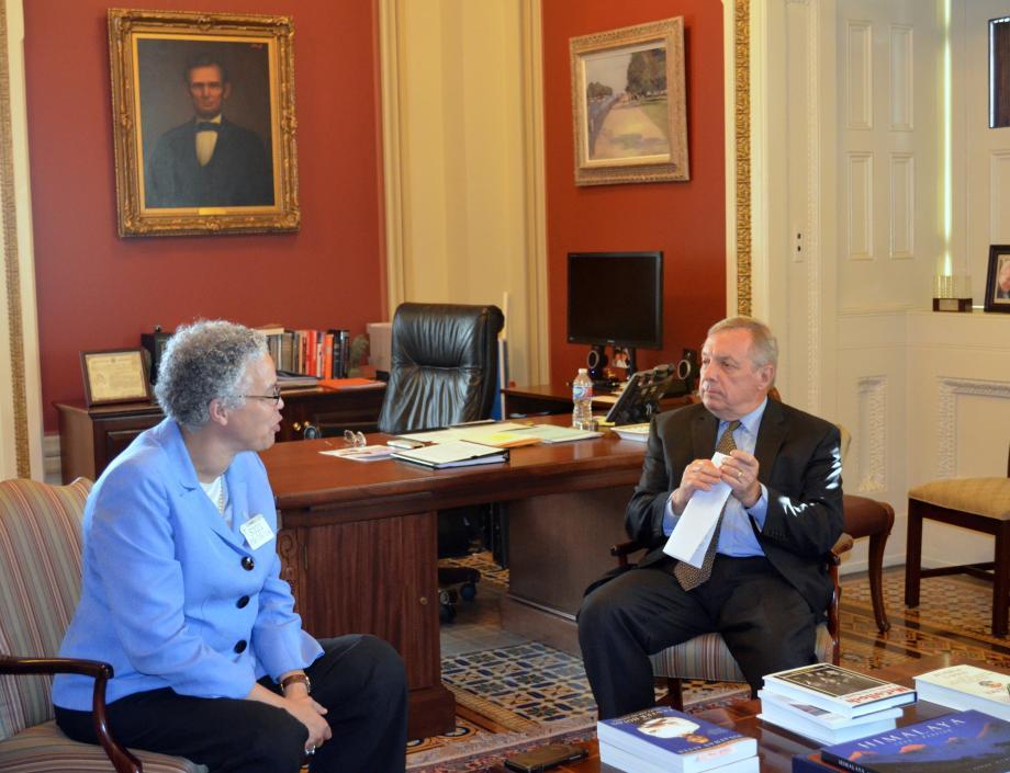 U.S. Senator Dick Durbin (D-IL) met with Cook County Board President Toni Preckwinkle to discuss local priorities.