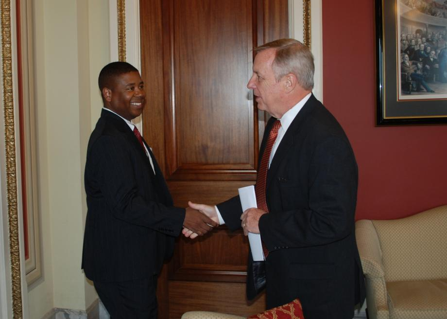 Sen. Durbin met with Charles Samuels, the Bureau of Prisons Director, to discuss the Obama Administration's continued commitment to acquiring Thomson Correctional Center and opening it as a maximum-security federal prison.