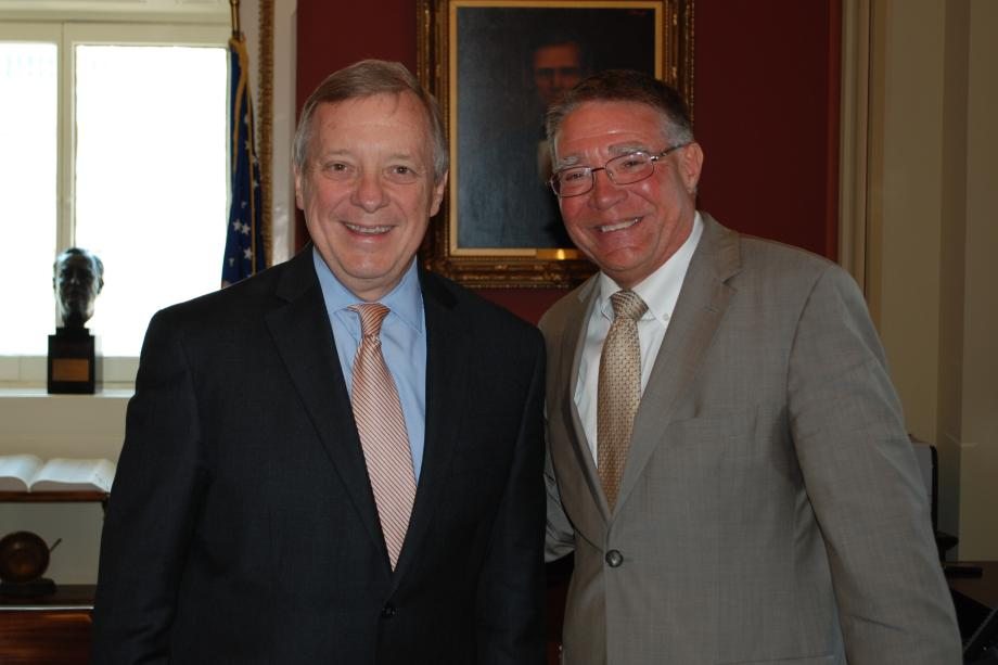 Durbin met with Dr. Ken Ender, President of Harper College, who joined other partners in Harper College's new Advanced Manufacturing Training Program to speak today at a meeting of the Senate Democratic Steering and Outreach Committee about their innovative job training and certification program.