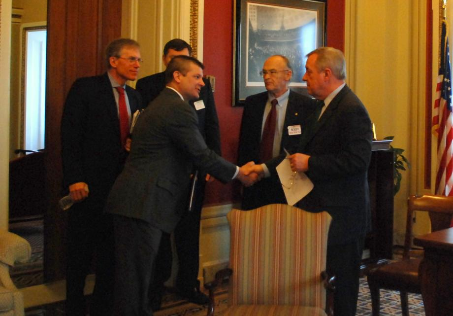 Durbin met with members of the Will County Center for Economic Development to discuss regional transportation issues.