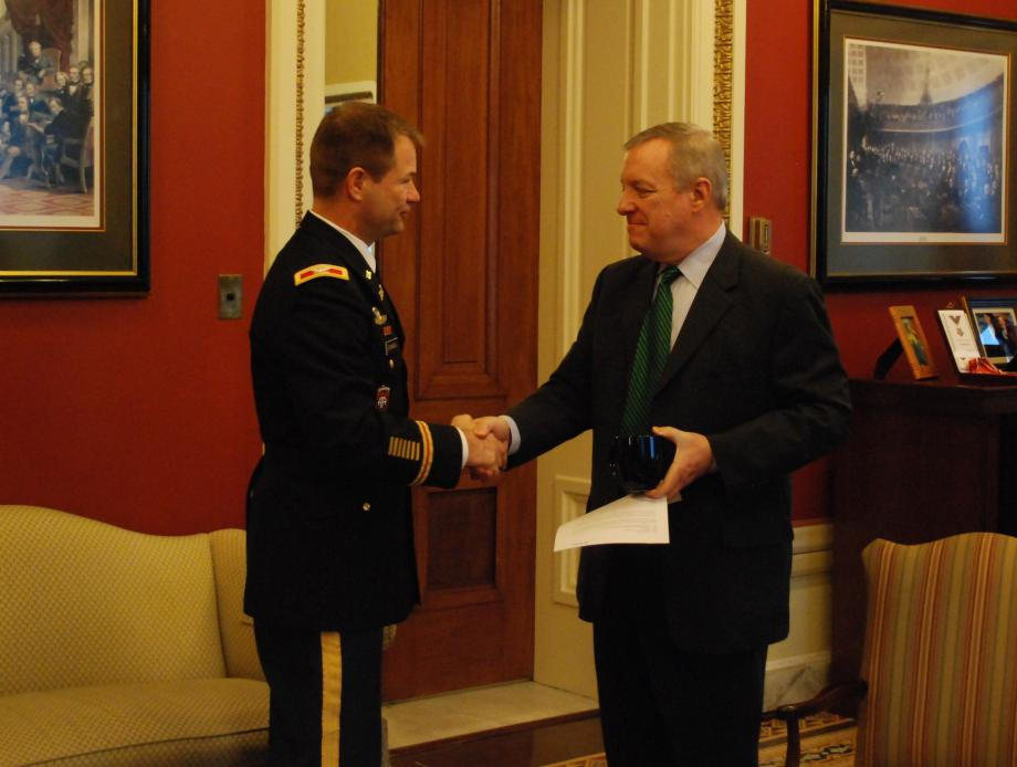 Durbin met with Colonel Frederic Drummond, Commander of the US Army Corps' Chicago District, to discuss ongoing efforts to combat Asian Carp.