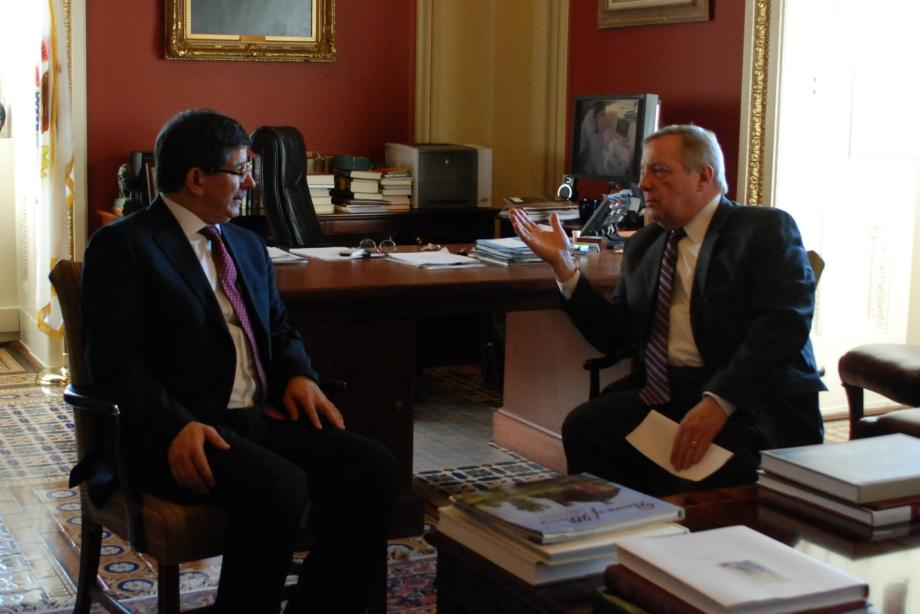 Durbin met with Turkish Foreign Minister Ahmet Davutoglu to discuss developments in the Middle East