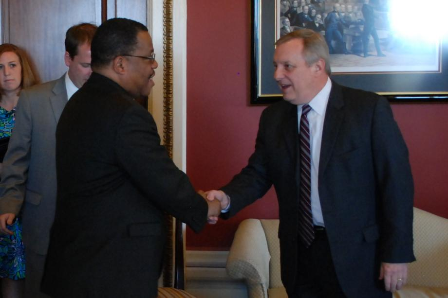 Durbin met with Haitian Prime Minister Garry Conille to discuss reconstruction efforts two years after the 2010 earthquake.