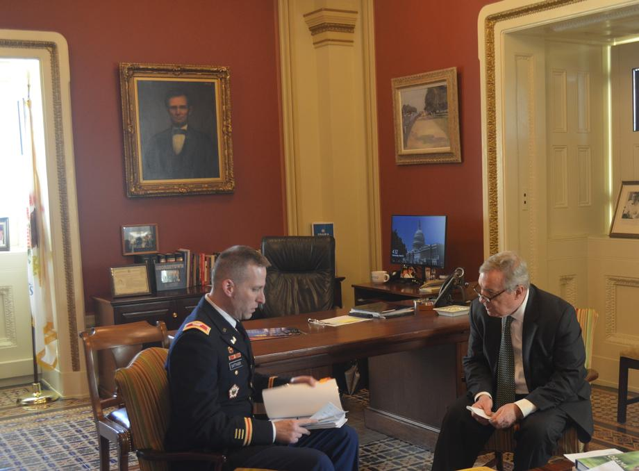 Durbin Meets With Col. Sattinger, Commander of Rock Island Army Corps