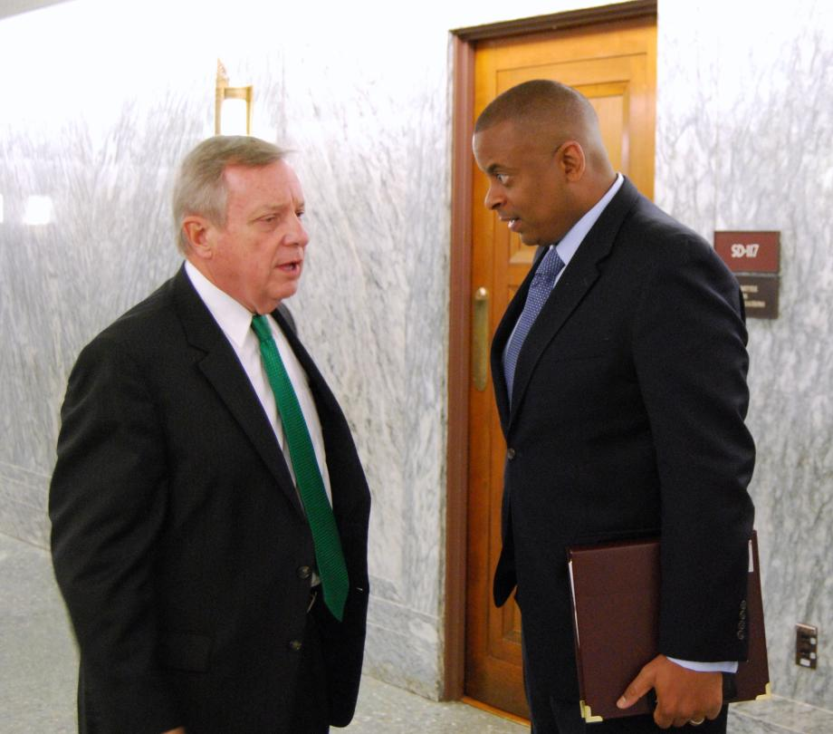 U.S. Senator Dick Durbin (D-IL) met with the Secretary of Transportation, Anthony Foxx, to discuss transportation issues.