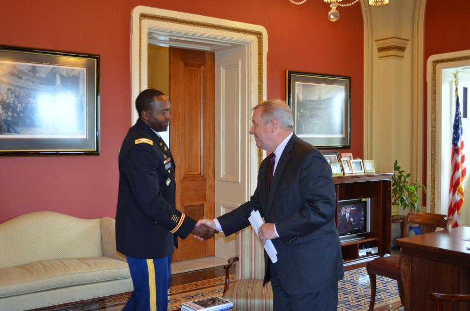 U.S. Senator Dick Durbin (D-IL) met with St. Louis District Army Corps of Engineers Commander Colonel Anthony Mitchell to discuss the Metro East Levees.