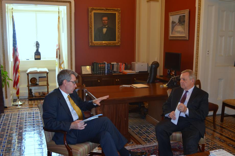 Ambassador to Ukraine Geoffrey Pyatt met with U.S. Senator Dick Durbin (D-Il) to update him on the latest developments in the Ukraine. Earlier in the day, President Petro Poroshenko spoke to a Joint Session of Congress.