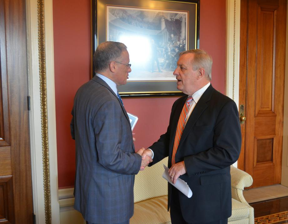 U.S. Senator Dick Durbin (D-IL) met with the President of the Export-Import Bank, Fred Hochberg to discuss Illinois companies.