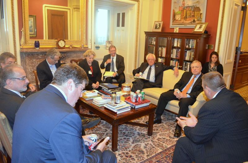 U.S. Senator Dick Durbin (D-IL) met with postal union representatives and Senators Jon Tester and Bernie Sanders to discuss postal service issues.