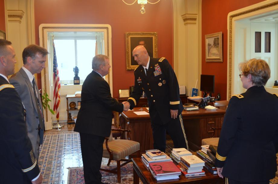 U.S. Senator Dick Durbin (D-IL) met with U.S. Army Chief of Staff General Raymond Odierno to discuss defense issues.