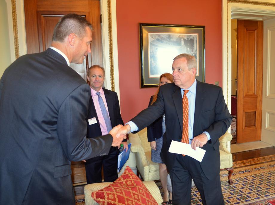 U.S. Senator Dick Durbin (D-IL) met with Chicagoland Speedway President Scott Paddock regarding Illinois operations and motorsports issues.