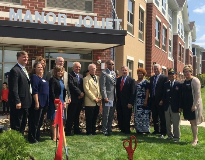 August 25, 2017 – Senator Durbin spoke at the grand opening of Hope Manor Joliet, which will be home to 67 veterans & their families