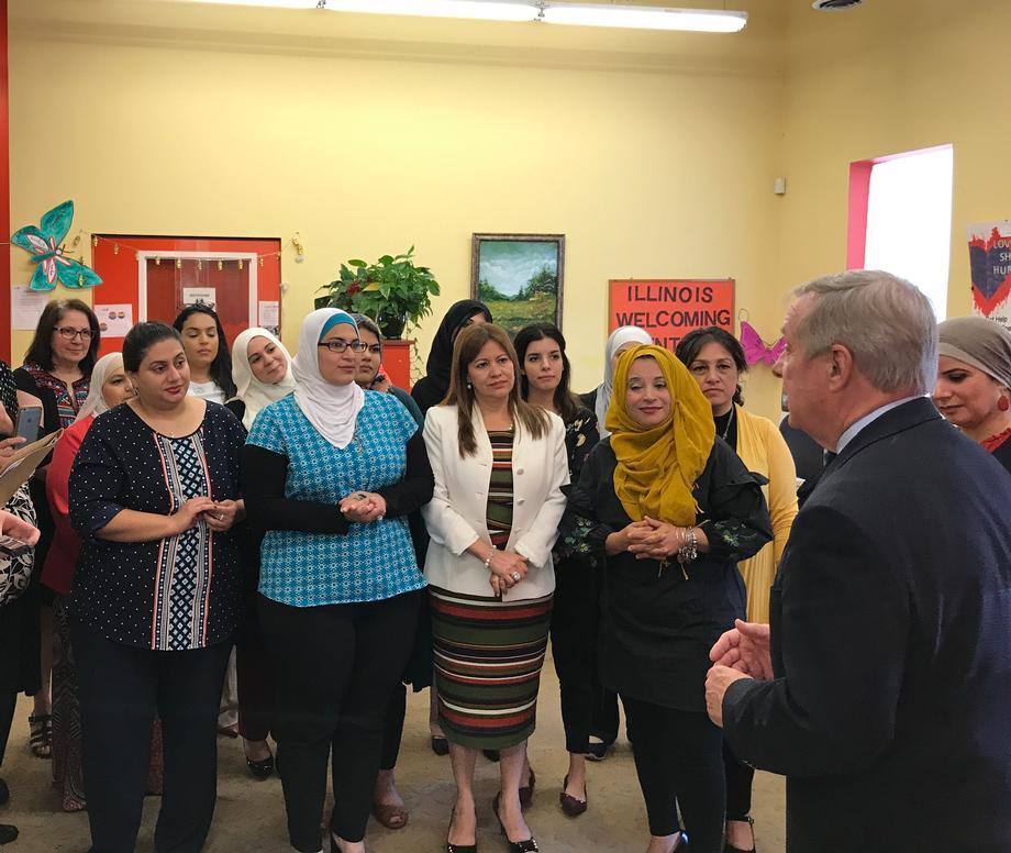August 25, 2017 -- Senator Durbin visited Arab American Family Services in Bridgeview.