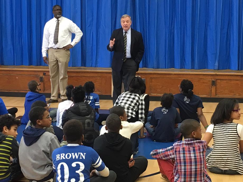Durbin Visits Poe Elementary in Chicago