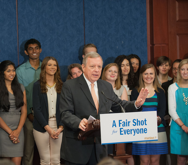 At a press conference with young Americans struggling with student loan debt, U.S. Senator Dick Durbin (D-IL) discussed actions Congress could take this week to help ease their burden.
