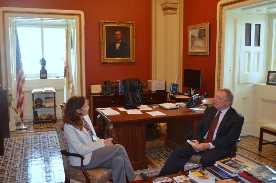 U.S. Senator Dick Durbin (D-IL) met with President of NARAL Pro Choice America, Ilyse Hogue to talk about health issues.