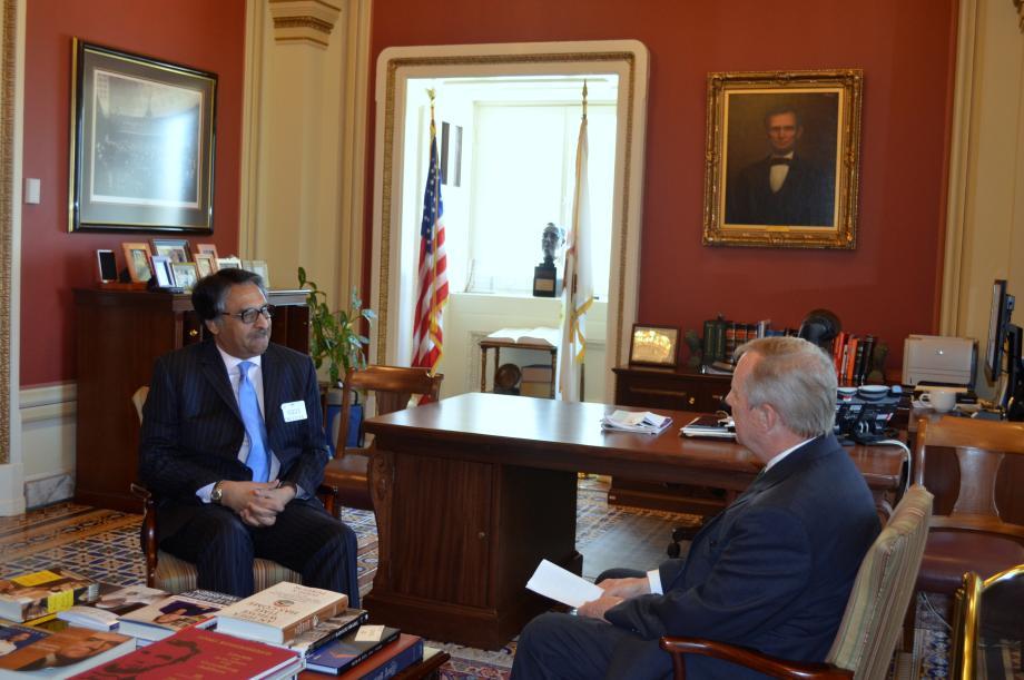 U.S. Senator Dick Durbin met with the Ambassador of Pakistan Jalil Abbas Jilani to discuss U.S. - Pakistan relations
