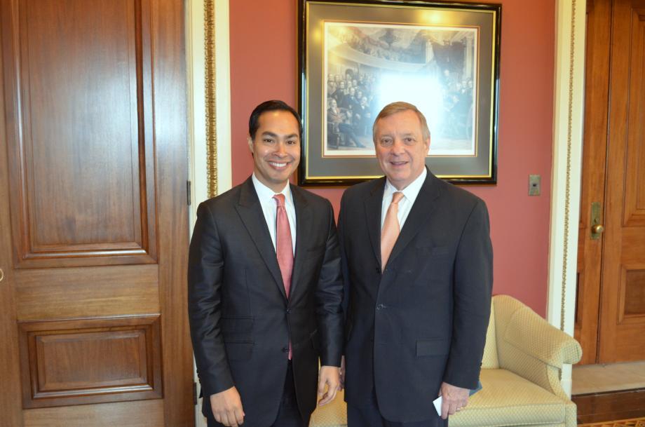 U.S. Senator Dick Durbin (D-IL) met with San Antonio Mayor Julian Castro to discuss his recent nomination to be the next Secretary of Housing and Urban Development.
