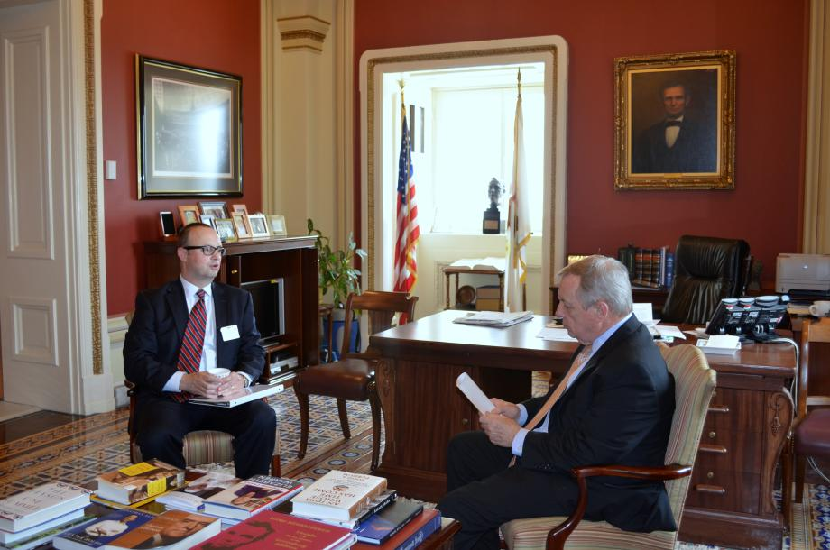U.S. Senator Dick Durbin (D-IL) met with Mayor of Rockford Larry Morrissey to discuss manufacturing initiatives and economic development in Rockford
