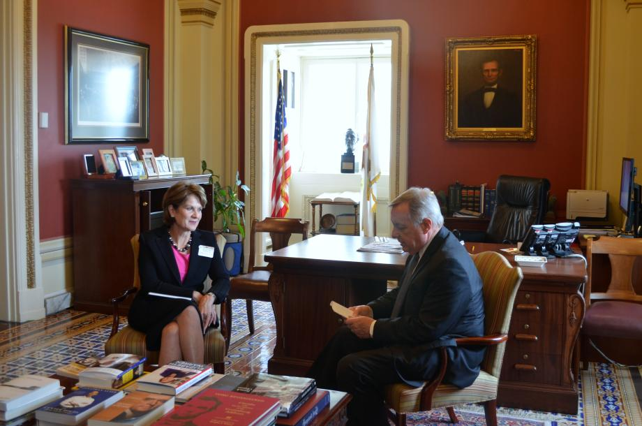 U.S. Senator Dick Durbin (D-IL) met with Lockheed Martin CEO Marillyn Hewson to discuss defense priorities and Illinois operations.