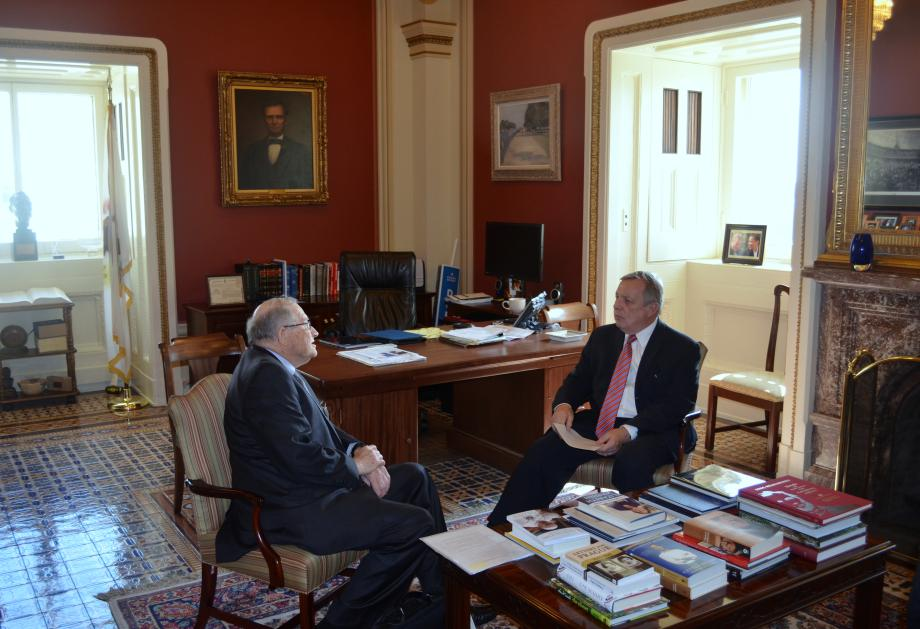 U.S. Senator Dick Durbin (D - IL) met with the American Academy of Arts and Sciences Project Director, Neal Lane, to discuss science and technology issues.