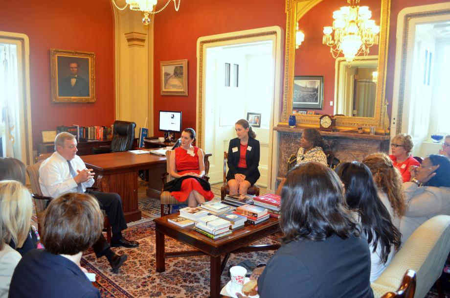 U.S. Senator Dick Durbin (D-IL) met with the Illinois Women's Institute for Leadership to discuss their role in women's leadership in Illinois government