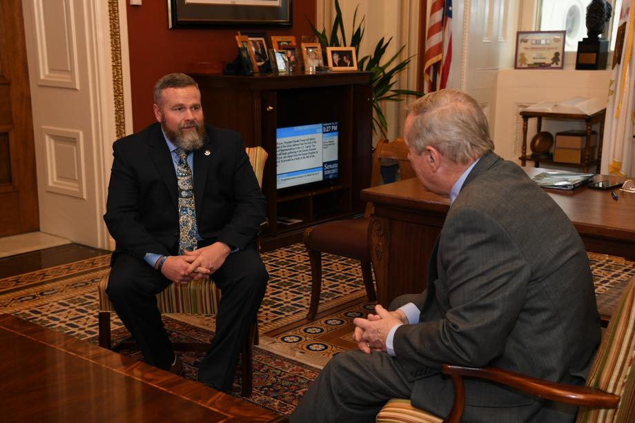 Durbin Meets With Toby Hauck, State Of The Union Guest