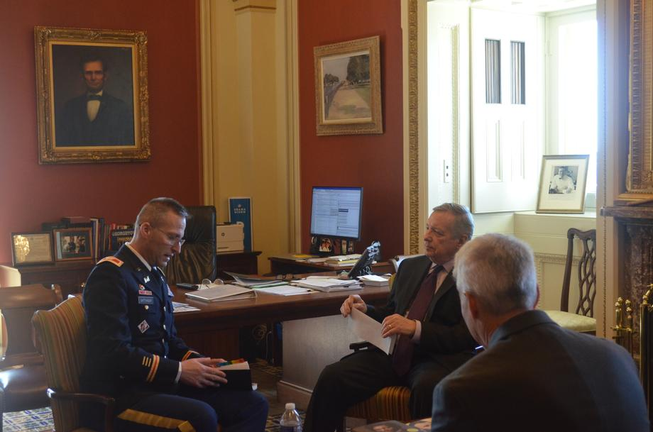 Durbin Meets With Rock Island Army Corps Commander Colonel Sattinger To Discuss Quincy Bay