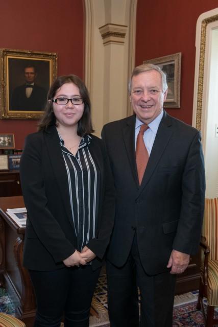 Durbin With Ed Greelegs Scholar Elizabeth Flores