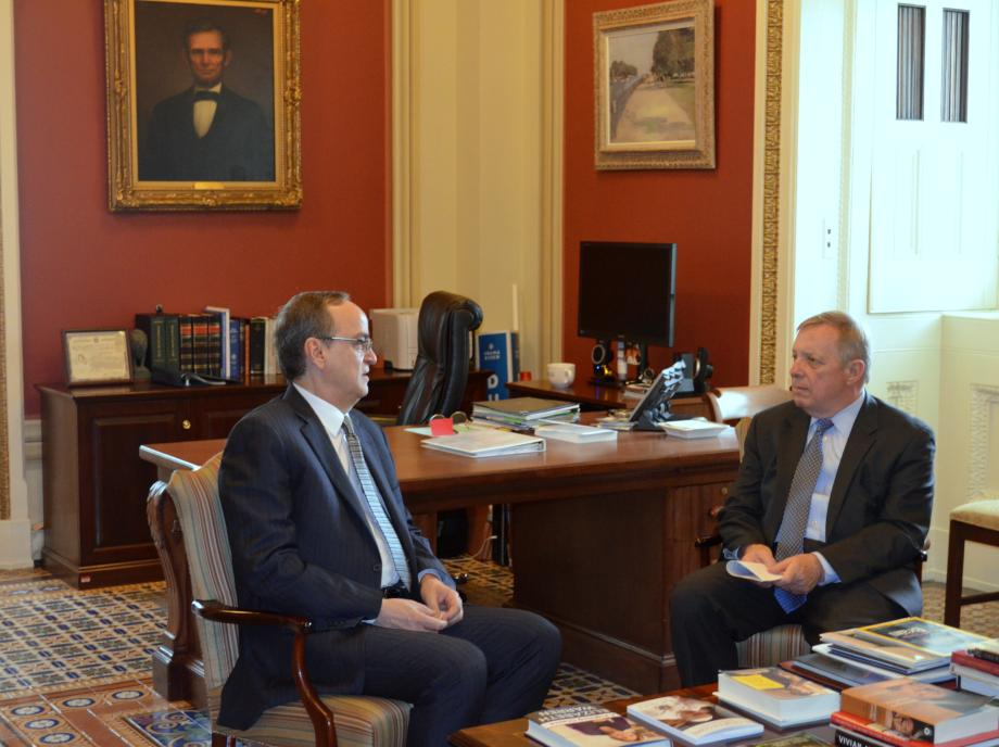 U.S. Senator Dick Durbin (D-IL) met with Ahmad Jarba, Syrian Opposition Coalition President, for an update on the situation in Syria.