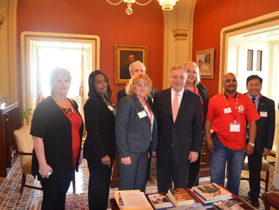 U.S. Senator Dick Durbin (D-IL) met with the Illinois members of Communications Workers of America to discuss labor issues and 2014 priorities.
