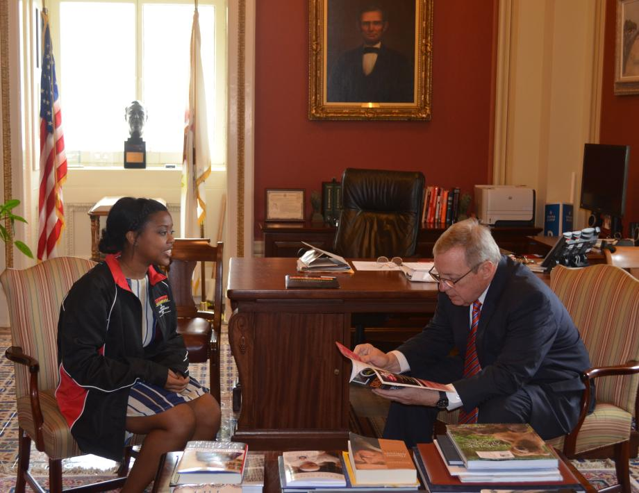 U.S. Senator Dick Durbin (D-IL) met with Jasmine Babers of Rock Island, Illinois to congratulate her on being named a winner of the 2014 Spirit of Community Award for hervolunteer work and community service. Babers created a magazine which aims to help girls build self-esteem and empower the youth.