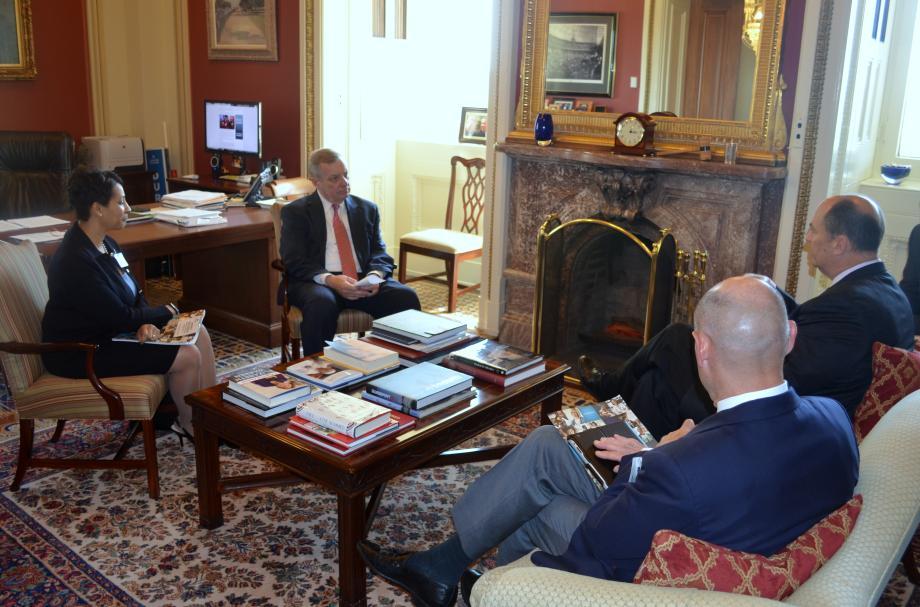 U.S. Senator Dick Durbin (D-IL) met with Advocate Health Care President Jim Skogsberg to discuss healthcare reform. Advocate Healthcare is headquartered in Oak Brook, Illinois.