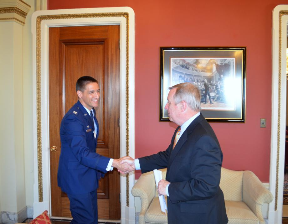 U.S. Senator Dick Durbin (D-IL) met with 375th Air Mobility Wing Commander Colonel Kyle Kremerto discuss operations at Scott Air Force Base