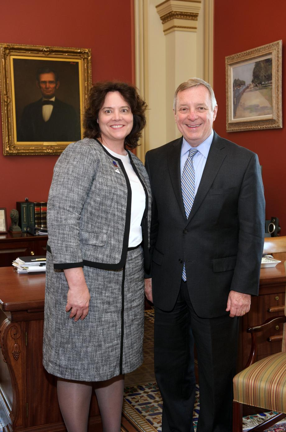 U.S. Senator Dick Durbin met with 2014 ACTFL National Language Teacher of the Year Linda Egnatz. Egnatz teacehs at Lincoln-Way North High School in Frankfort, Illinois.
