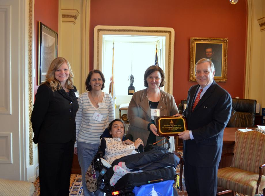 U.S. Senator Dick Durbin (D-IL) met with the Dystonia Advocacy Network, who presented him with the 2014 DAN Distinguished Public Service Award for his work on medical research.