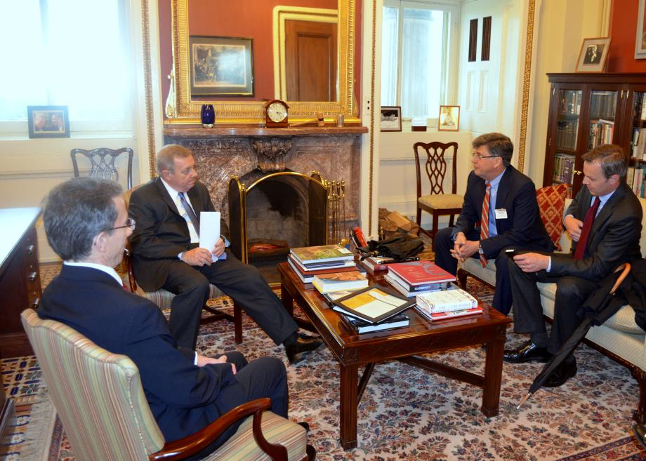 U.S. Senator Dick Durbin met with Caterpillar President Jim Umpleby. The two discussed the latest going on with Illinois operations.
