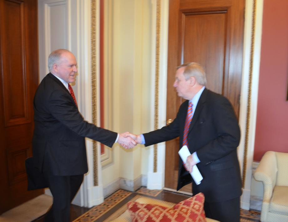 U.S. Senator Dick Durbin (D-IL) met with Central Intelligence Agency Director John Brennan today to discuss intelligence issues.