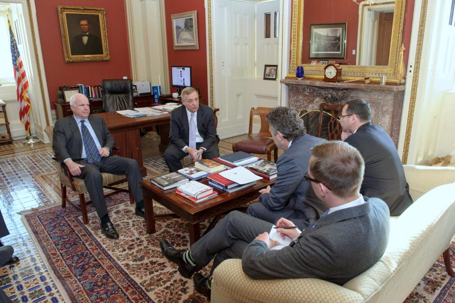 Assistant Majority Leader Dick Durbin (D-IL) and Senator John McCain (R-AZ) met with Lithuanian Ambassador Pygimantas Pavilionis, Estonian Charge Tanel Sepp, and Polish Ambassador Ryszard Schnepf to discuss the latest Russian-instigated unrest in eastern Ukraine.