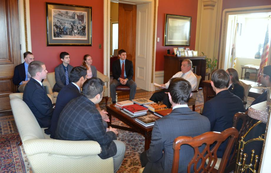 U.S. Senator Dick Durbin (D-IL) met with his Spring Interns. The Senator took questions and thanked the interns for their hard work over the past months.