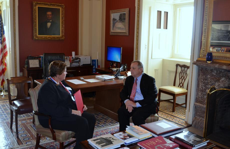 U.S. Senator Dick Durbin (D-IL) met with Vernon Hills High School Assistant Principal Jean Aucutt. Aucutt was named Assistant Principal of the Year by the National Association of Secondary School Principals.