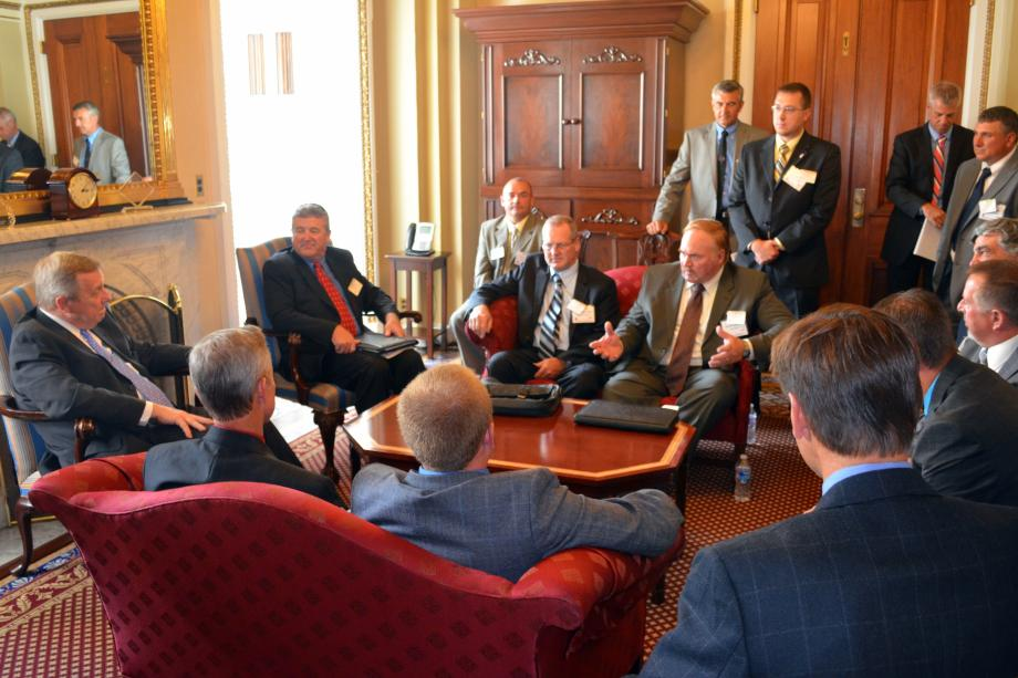 U.S. Senator Dick Durbin (D-IL) met with representatives of the Illinois Farm Bureau to discuss the importance of supporting and investing in Illinois' agricultural communities by passing a full five-year reauthorization of the Farm Bill.