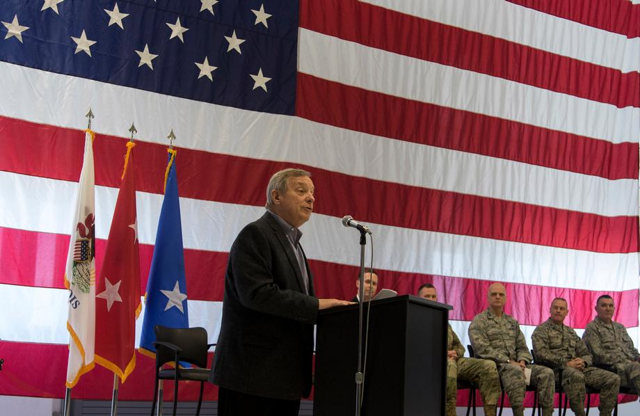March 4, 2017 - Senator Durbin spoke at a welcome home ceremony for members of Springfield's 183rd Fighter Wing who have been deployed over the last two years in several parts of the Middle East